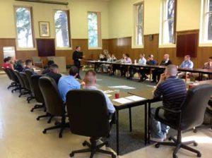 Archbishop Broglio talks to the 26 men gathered in Menlo Park, CA at the AMS 2013 Spring Discernment Retreat.